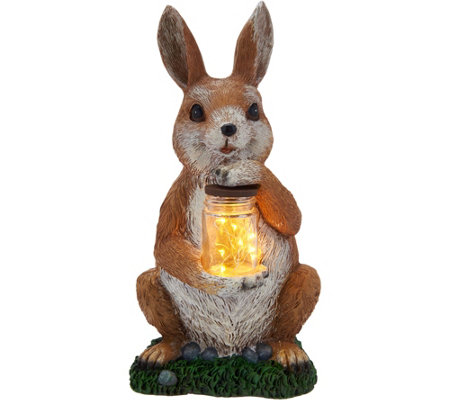 Plow & Hearth Resin Animal Statue Holding Lantern Jar