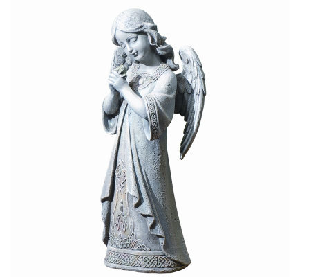 Angel with Shamrock Celtic Garden Decor by Roman