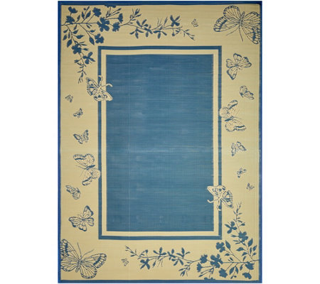 Barbara King 8x11 Butterfly Border Reversible Mat by PatioMats