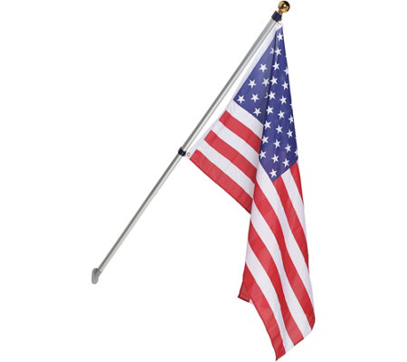 American Pride Tangle Free 6-1/2 Foot Flagpole with American Flag