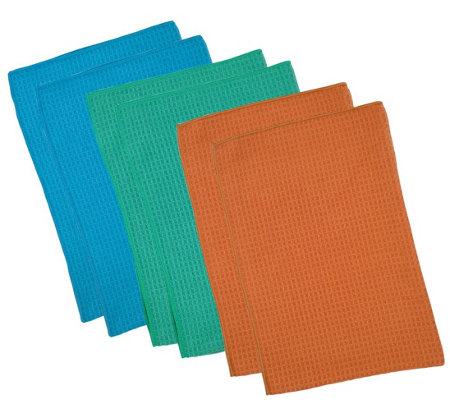 Don Aslett S 6 Piece Waffle Weave Towel Set
