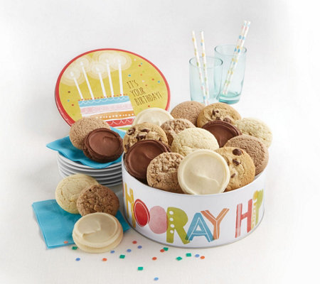 Cheryl's 16-Piece Hip Hip Hooray Birthday SugarFree Tin