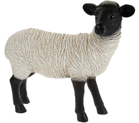 Plow & Hearth Resin Suffolk Sheep Garden Statue