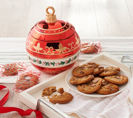 SH 11/5 David's Cookies Holiday Ornament Cookie Jar with 16 Cookies