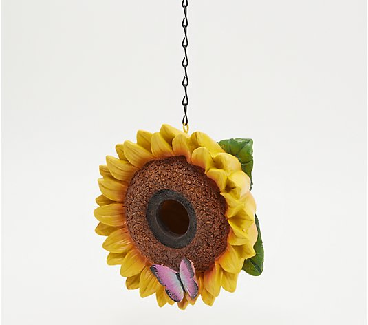 Painted Flower Blossom Birdhouse w/ Metal Chain by Evergreen