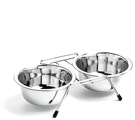 Stainless Steel Double Diner Boxed 2-qt Dog Bowl