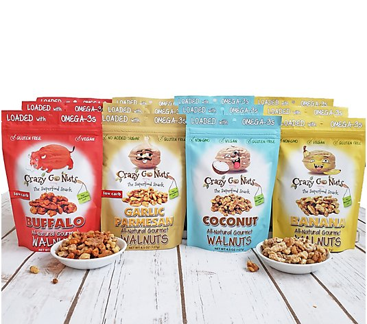 Crazy Go Nuts (12) 4.5 oz. Sweet and Savory Walnut Snack Bags