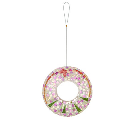 Glass Mosaic Fly-Thru Circle Birdfeeder by Evergreen