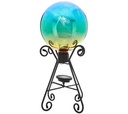 Plow & Hearth Solar Gazing Ball with 3D Image and Stand