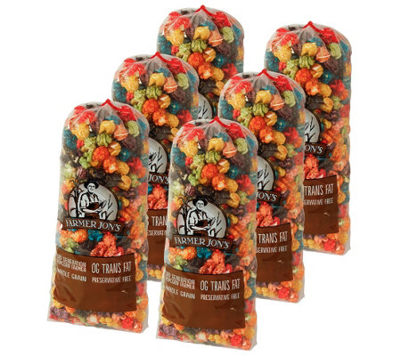 Farmer Jon's Set of (6) 20-oz Bags of Rainbow Caramel Corn