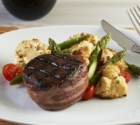 Kansas City (8) 6 oz Hickory Smoked Bacon Wrapped Filet Mignon