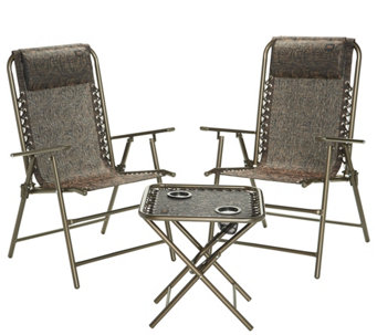 Bliss Hammocks Folding Outdoor Patio Set With 2 Chairs And Side Table M55943