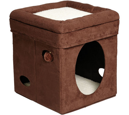Feline Nuvo Curious Cat Cube Brown