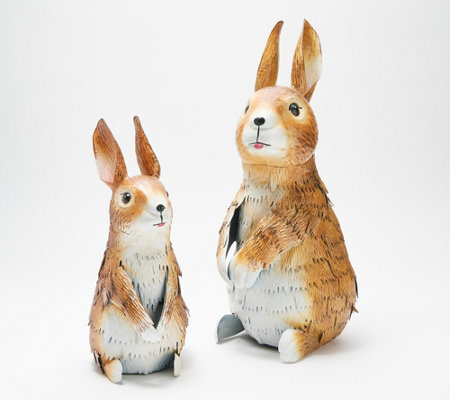 Plow and Hearth Pair of Metal Rabbits