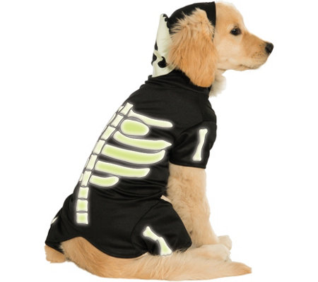 Rubie's Glow-in-the-Dark Skeleton Hoodie Pet Costume-Small