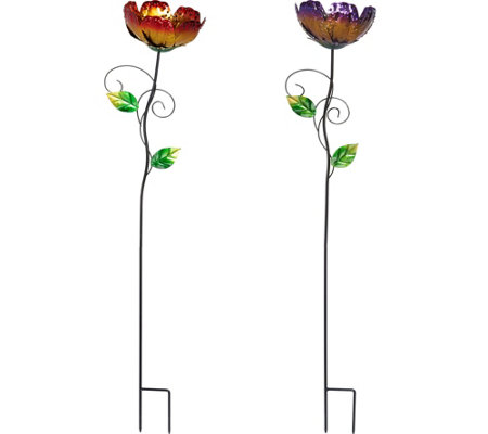 Set of 2 Metal Flower Blossom Stakes by Evergreen