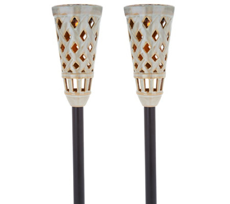Energizer Set of 2 Solar Ceramic Tiki Torches