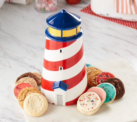 Cheryl's Lighthouse Cookie Jar with 18-pc Cookie Assortment