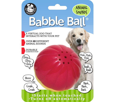 Pet Qwerks Large Animal Sounds Babble Ball - Red & Yellow