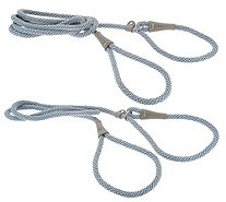 Martha Stewart S/2 Short & Long Braided Rope Slip Lead for Dogs - M57254
