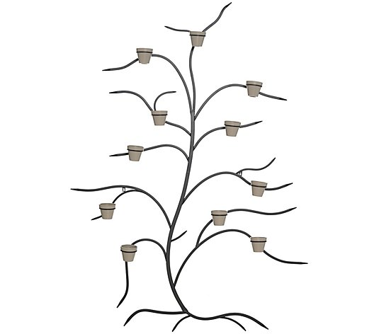 "Martha Stewart 71"" Metal Tree Wall Decor with Flower Pots"