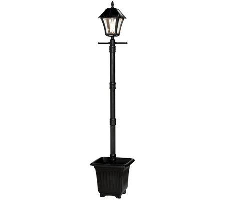 Gama Sonic 6.5' Solar Lamp Post with Planter & LED Light Bulb