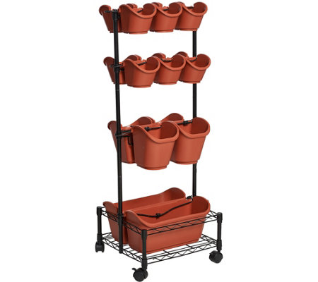 Watex Double Sided Mobile Planter Rack with 18 Pots