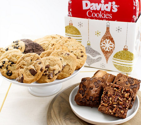 SH 11/5 David's Cookies Glittering Ornaments Box Choc Chunk