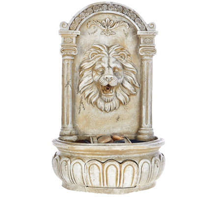 Bernini Rechargeable Indoor/Outdoor Lion Head Wall Fountain