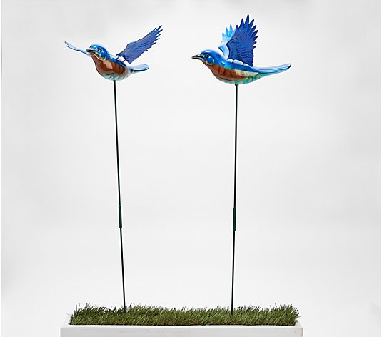 Set of 2 Windy Wings Bird Stakes by Exhart