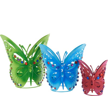 Plow & Hearth Set of 3 Jeweled Butterfly Planters