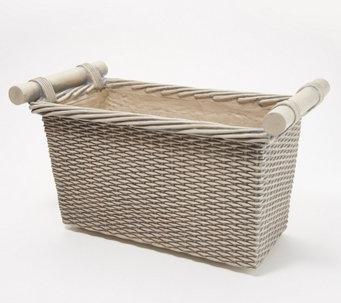 """Martha Stewart Faux Wicker 16"""" Trough Planter Box - M60359"""