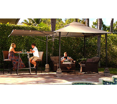 Compass Home 8'x8' No Tools Gazebo with Awning & Anchor Bags