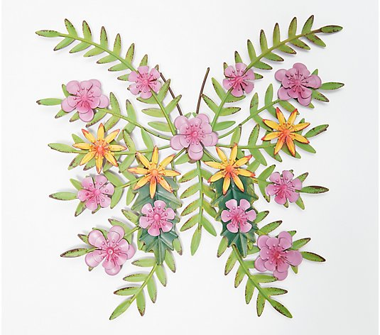 "Plow & Hearth 15"" Painted Metal Wall Art with Flowers"