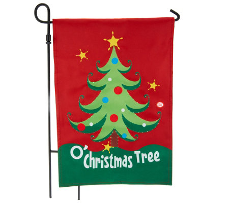 Fiber Optic Holiday Musical Flag w/ Motion Sensor by Evergreen