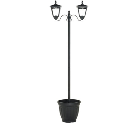 Solithia 6ft Dual Head Solar Lamp Post w/ Planter Base and 12 LED's