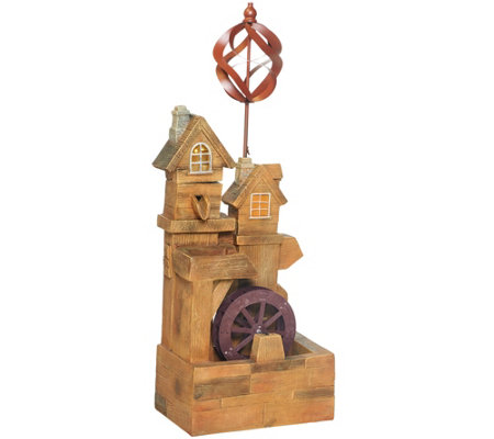 Plow & Hearth Solar Watermill Fountain with Spinner