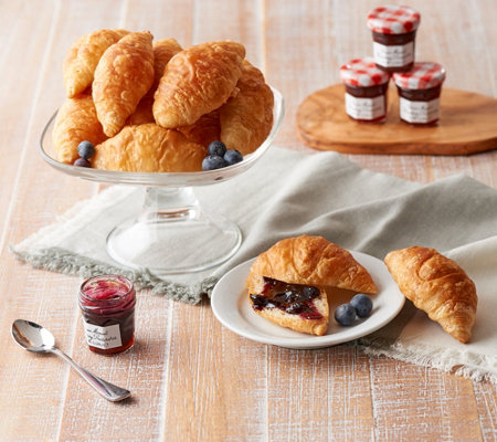 Authentic Gourmet 30 Mini Butter Croissants & 15 Jam Jars