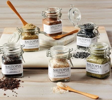 Saltopia (6) Gourmet Flavor Infused Sea Salt Collection