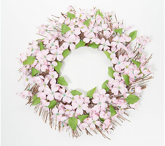 "Wicker Park Indoor/Outdoor Faux 24"" Dogwood Blossom Wreath"