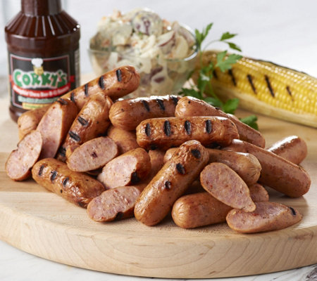 Corky's BBQ 3 lbs. Seasoned Smoked Sausage & 18 oz. Bottle of Corkys Sauce