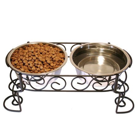 Scrollwork Double Diner 2-qt Dog Dish