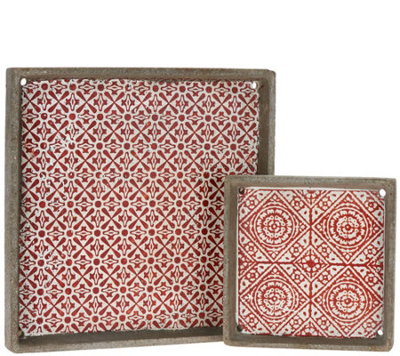 Barbara King Set of 2 Stamped Cement Trays
