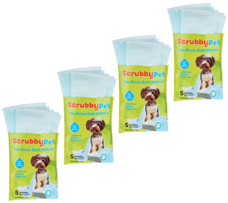 Scrubby Pet No-Rinse Set of 20 Pet Bath Mittens