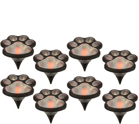 Set of 8 Solar Powered Paw Print Garden Lights