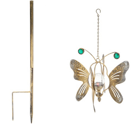 Compass Home 2-in-1 Hanging Solar Butterfly Wind Spinner