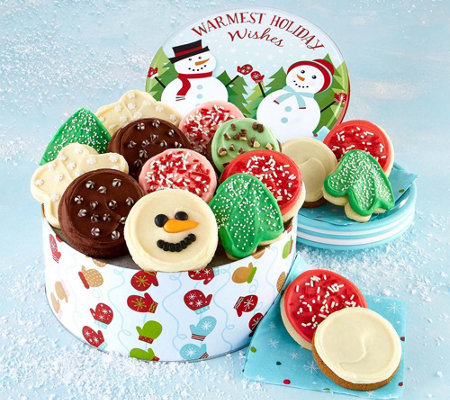 SH 11/5 Cheryl's Snowman Frosted Cookie Tin Assortment