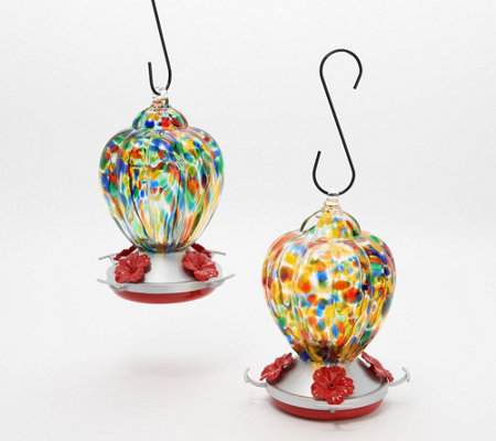 Ultimate Innovations Set of 2 Glass Hummingbird Feeders
