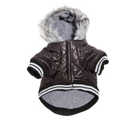 Silver Paw Quilted Hooded Jacket