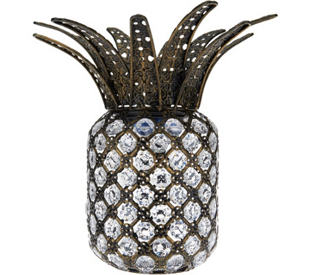 Plow & Hearth Jeweled Crystal Solar Pineapple